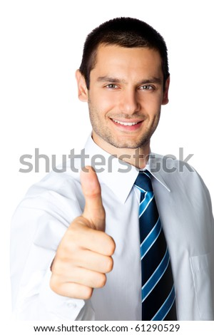 Happy businessman with thumbs up gesture, isolated on white