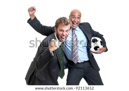 Happy businessmen with soccer ball isolated in white