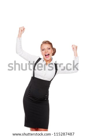 happy businesswoman celebrating her succes. isolated on white background