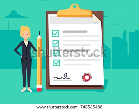 Happy businesswoman holding a pencil looking at completed checklist on clipboard. Business concept. Clipboard with checklist icon. Flat illustration of clipboard with checklist for web