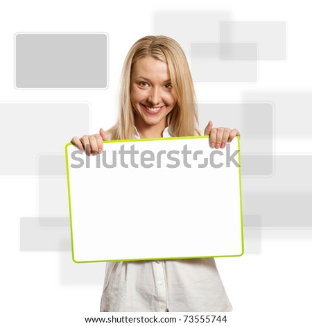 happy businesswoman holding blank white card in her hands