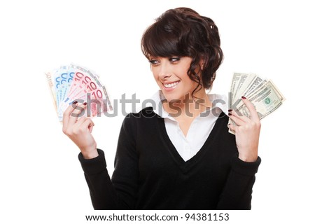 happy businesswoman holding dollars and euro in her hands. isolated on white background