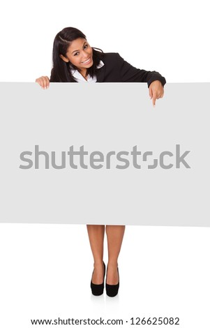 Happy Businesswoman Holding Placard. Isolated On White
