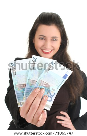 Happy businesswoman showing money over white