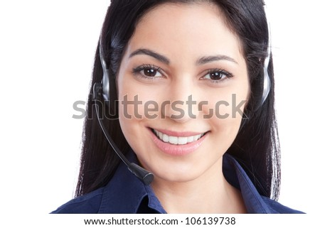 Happy businesswoman wearing a headset isolated on white background.