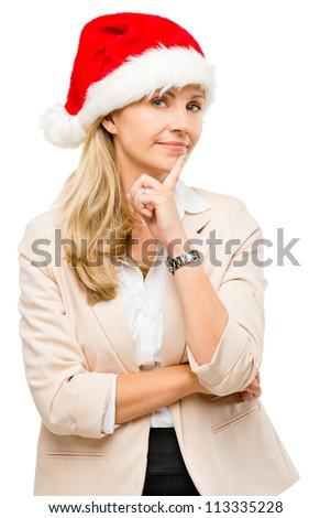 Happy businesswoman wearing santa hat celebrating christmas isolated