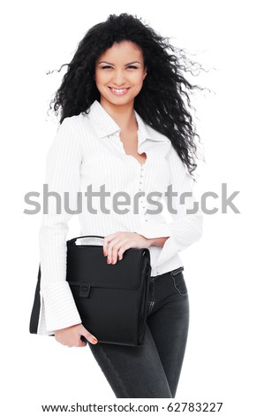 happy businesswoman with briefcase. isolated on white background