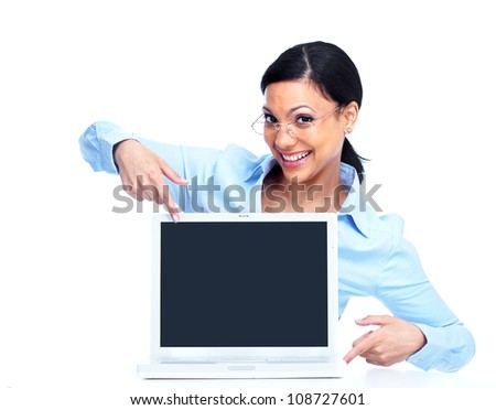 Happy businesswoman with laptop computer. Isolated over white.