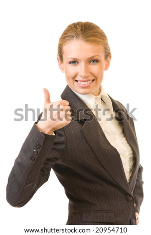 Happy businesswoman with thumb up, isolated on white