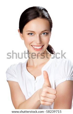 Happy businesswoman with thumbs up gesture, isolated on white