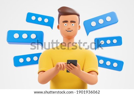 Happy cartoon character  man in yellow tshirt use smartphone over white background with blue text bubbles. 3d render illustration.