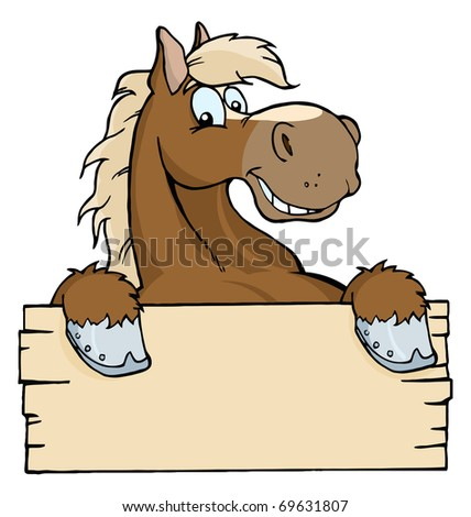 Happy Cartoon Horse With A Blank Sign
