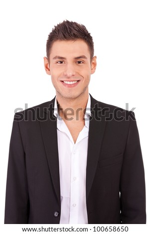 Happy casual business man wearing suit and open collar shirt without tie, smiling Stock photo ©