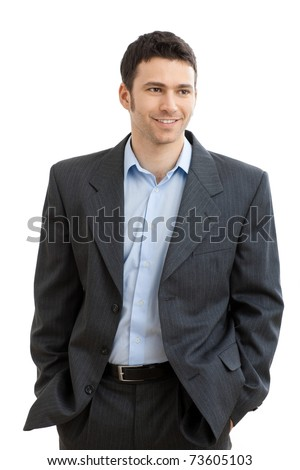 Happy casual businessman wearing suit and open collar shirt without tie, smiling.? Stock photo ©