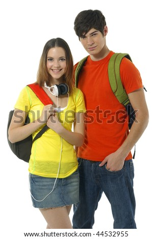 happy casual couple with backpacks over a white