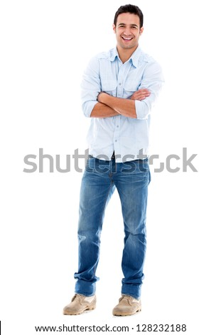 Happy casual man smiling - isolated over a white background