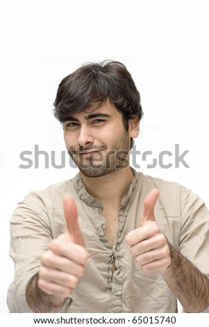 Happy casual man thumbs up over white background.