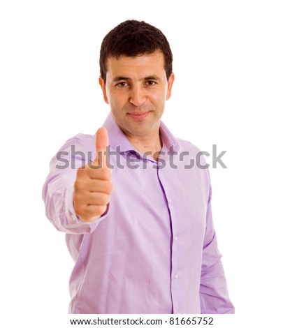 Happy casual young man showing thumb up and smiling. isolated on white