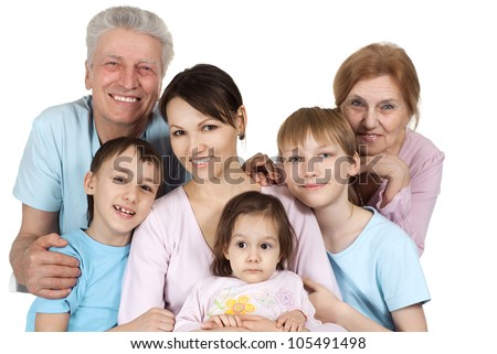 Happy Caucasian family of six on a white background
