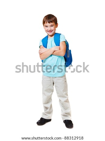 Happy Caucasian student with backpack, over white