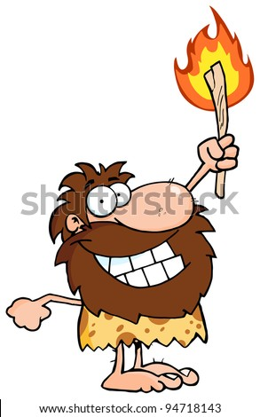 Happy Caveman Holding Up A Torch