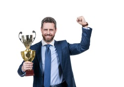 Happy ceo hold championship trophy celebrating business victory isolated on white, champion