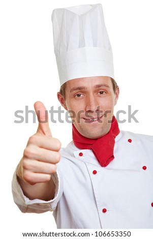 Happy chef cook holding his thumbs up