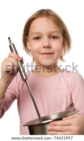 Happy chef girl stirring soup. isolated on white