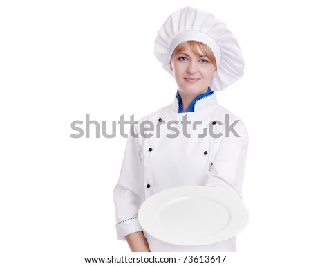 Happy chef with a white plate isolated on white