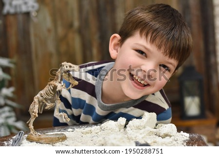 Happy child digging the dinosaur and having fun with archaeology excavation kit. Boy plays an archaeologist excavated, training for dig fossil Photo stock ©