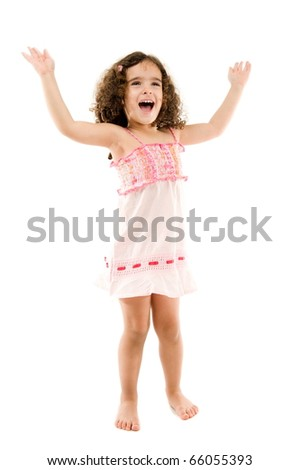 Happy child girl shouting or singing, with hands up .