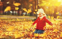 happy child girl throws autumn leaves and laughs outdoors