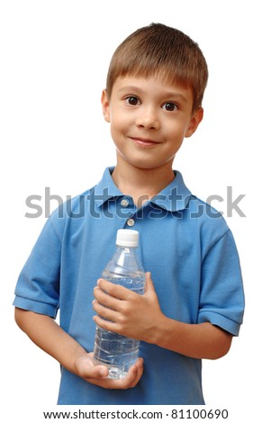 Happy child holds bottle of water isolated on white background