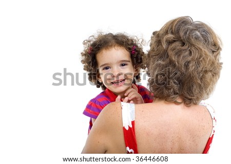 Happy child in the lap of a senior . - stock photo