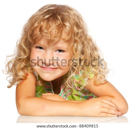 Happy child isolated on white