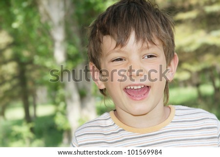 happy child on natural background