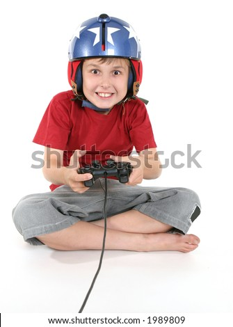 Happy child playing a flight game.