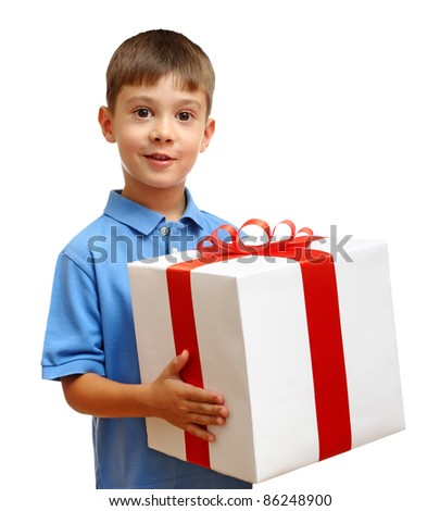 Happy child with gift box isolated on white background