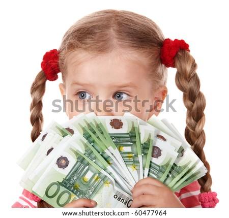 Happy child with money euro. Isolated.