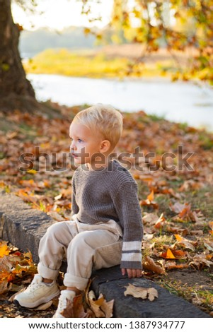 Happy childhood. Childhood memories. Child autumn leaves background. Warm moments of autumn. Toddler boy blue eyes enjoy autumn. Small stylish baby toddler on sunny autumn day. Kids fashion.
