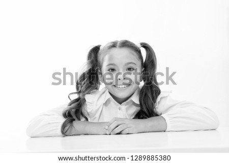 happy childhood. happy childhood of school girl isolated on white.