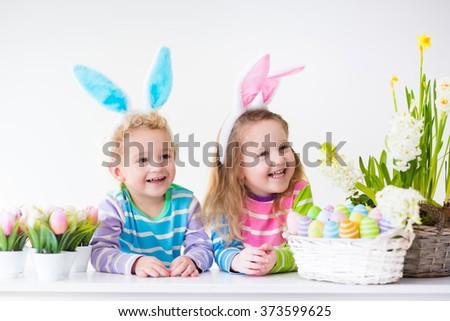 happy children celebrate easter ...