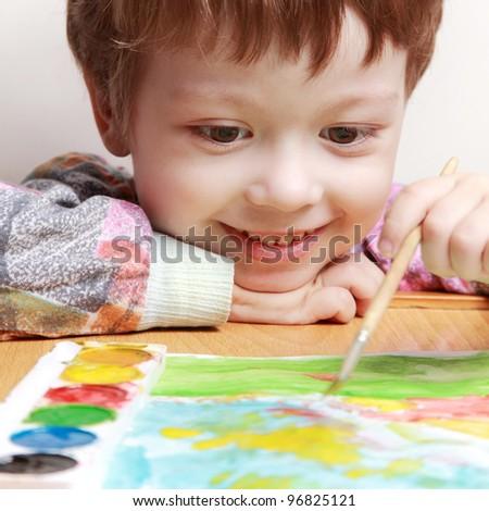 happy children draw picture - stock photo
