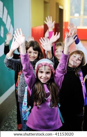 happy children group in school have fun