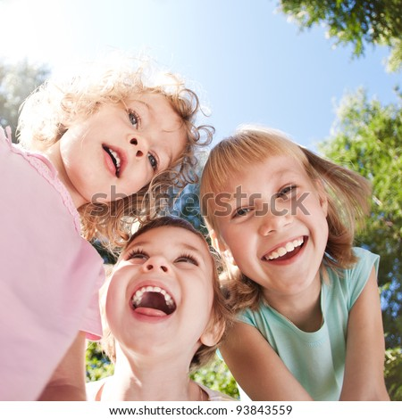 Happy children having fun in spring