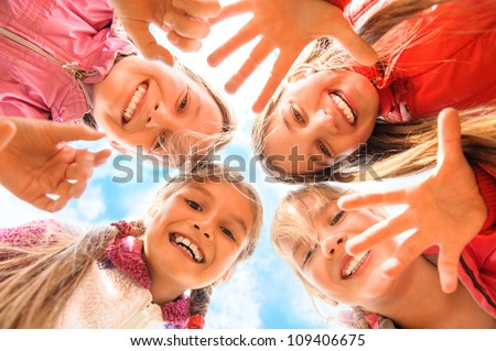 Happy children having fun together