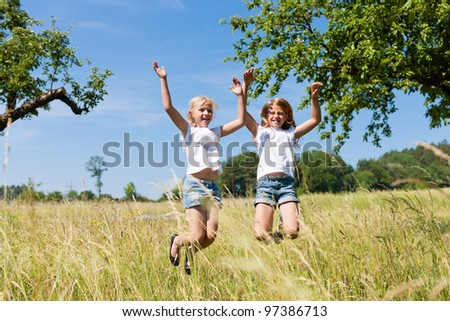 Happy children in a meadow in summer jumping high