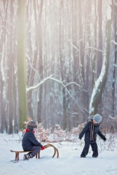 Happy children in a winter park, playing together with a sledge while snowing. Childhood happiness concept