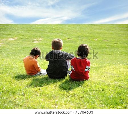 Happy children in grass