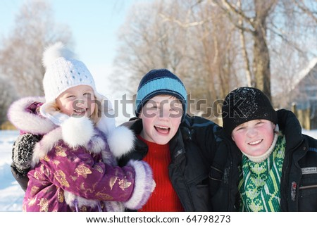 happy children in winter park